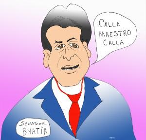 SENADO BHATIA YA NO DICE HABLA PUEBLO HABLA. AHORA DICE CALLA MAESTRO CALLA.