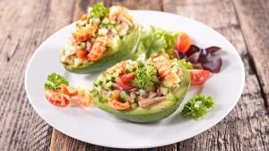 salad in avocado bowl