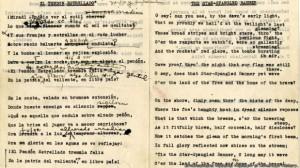 FOTO TEXTO de traduccion al español del Himno nacional de los EE.UU.