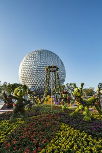 Mickey Mouse, Minnie Mouse, Daisy Duck and Pluto topiaries at the Epcot front-entrance maypole garden welcome guests to the 2017 Epcot International Flower & Garden Festival. The Festival, which runs 90 days, March 1-May 29, 2017 at Walt Disney World Resort in Lake Buena Vista, Fla., features dozens of character topiaries, stunning floral displays, Outdoor Kitchens with fresh taste treats, gardening seminars and the Garden Rocks concert series Ð all included in regular Epcot admission. (Matt Stroshane, photographer)