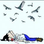 Caricatura que evidencia la catástrofe ocurrida en Guayaquil a consecuencia del contagio del coronavirus.
