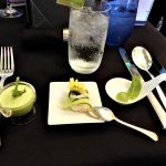 Australia Captain's Dinner trio of amuse bouche selections - mojito sphere, crab and cucumber roulade and asparagus panna cotta
