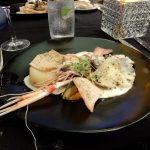 Australia seafood entree with fish fillet, scampi, oysters and prawn