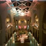 Dining events take place in the former pool of what was once the Alcazar Hotel, now Cafe Alcazar in the Lightner Museum.