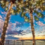 Nights of Lights glow at sunset on St. Augustine's Matanzas Bay.